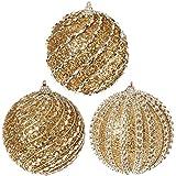 """RAZ Imports - Gold Glittered Ball Ornaments 4"""" - Set of 3"""