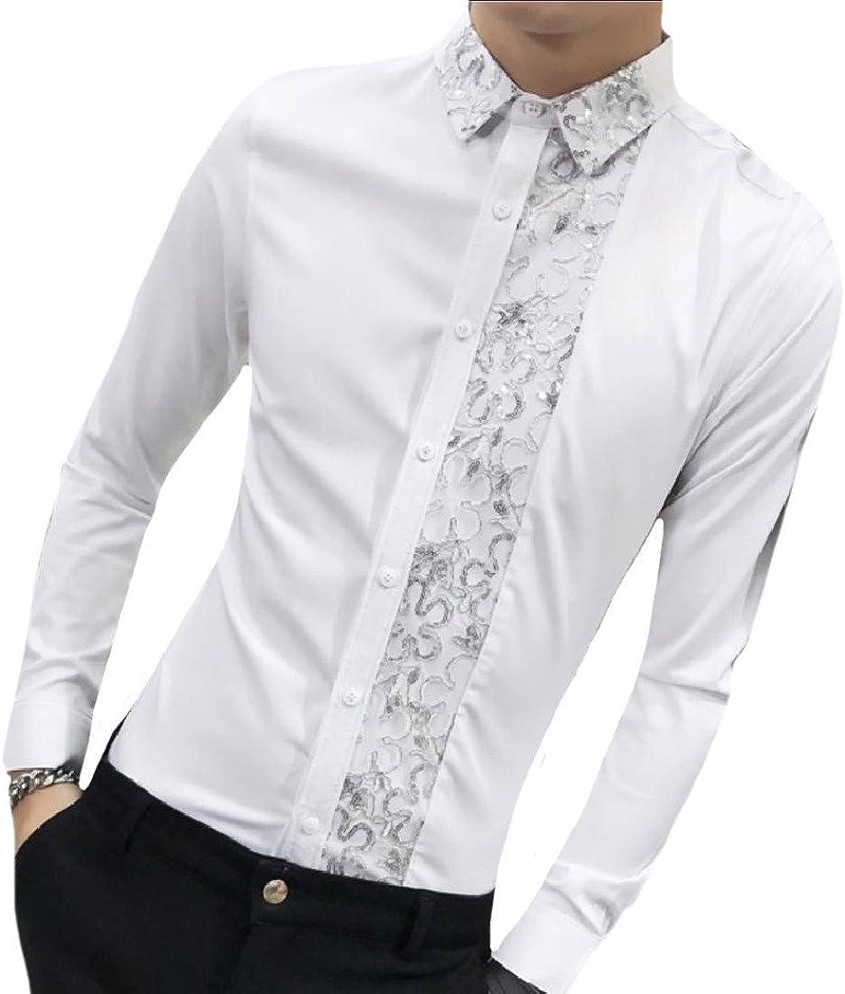 VITryst-Men Fashion Long-Sleeve Reg and Big and Tall Sizes Regular Shirt