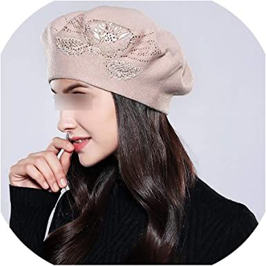 winter autumn warm head accessories for women and men White beret femme with flowers