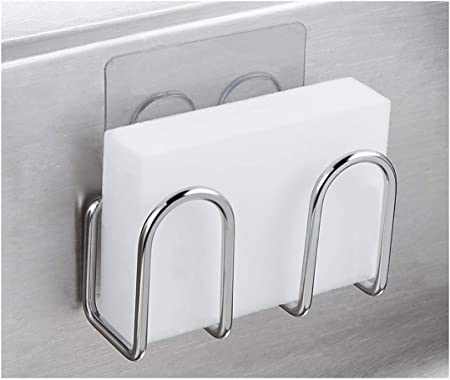 Adhesive Sponge Holder Sink Caddy for Kitchen Accessories, SUS304 Stainless  Steel Rust Proof Water Proof, No Drilling