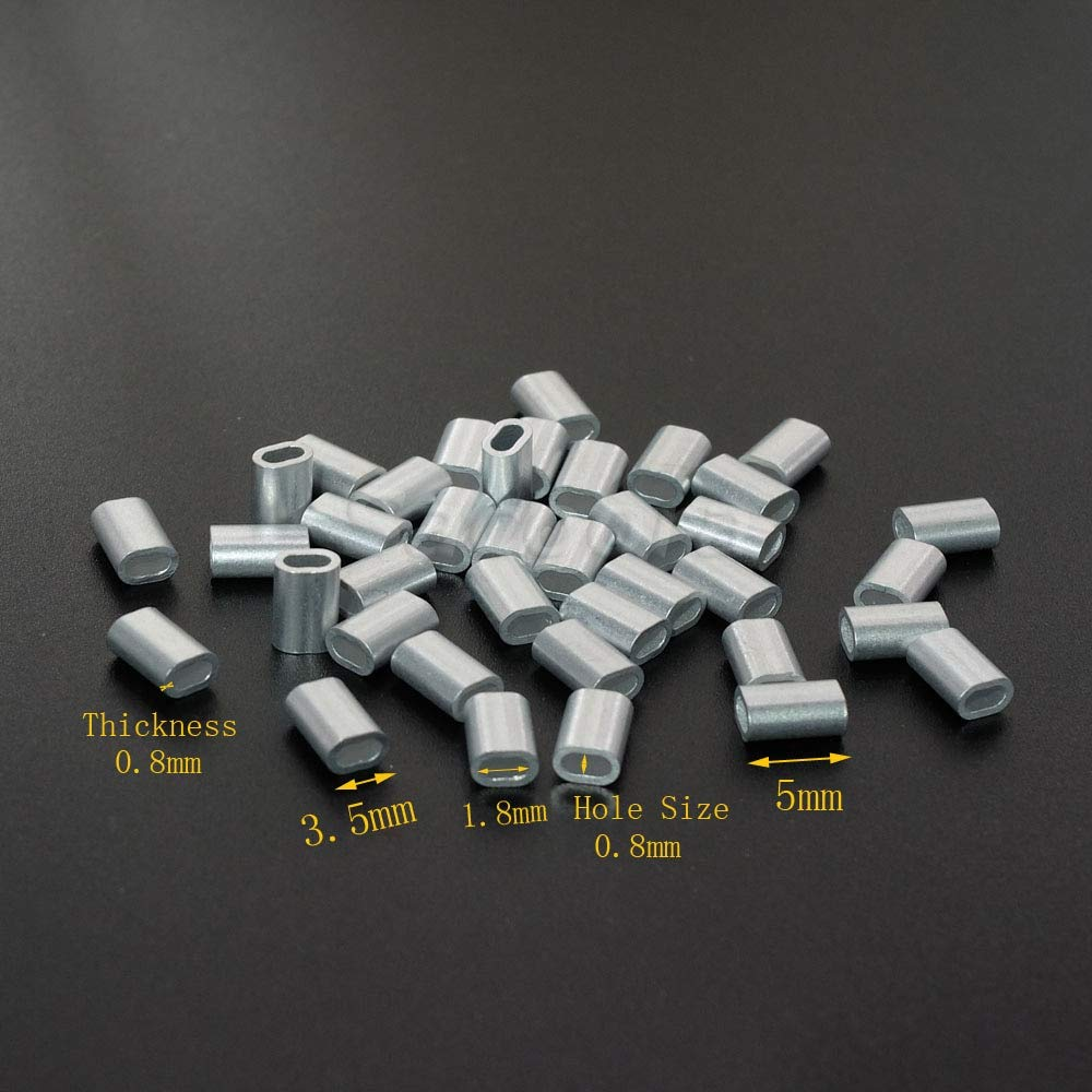 Dalab 5000pcs/pack 1/32''(0.8mm) Aluminum Cable Crimps Sleeves Cable Ferrule Stops for Snare Wire Rope Clip Fittings