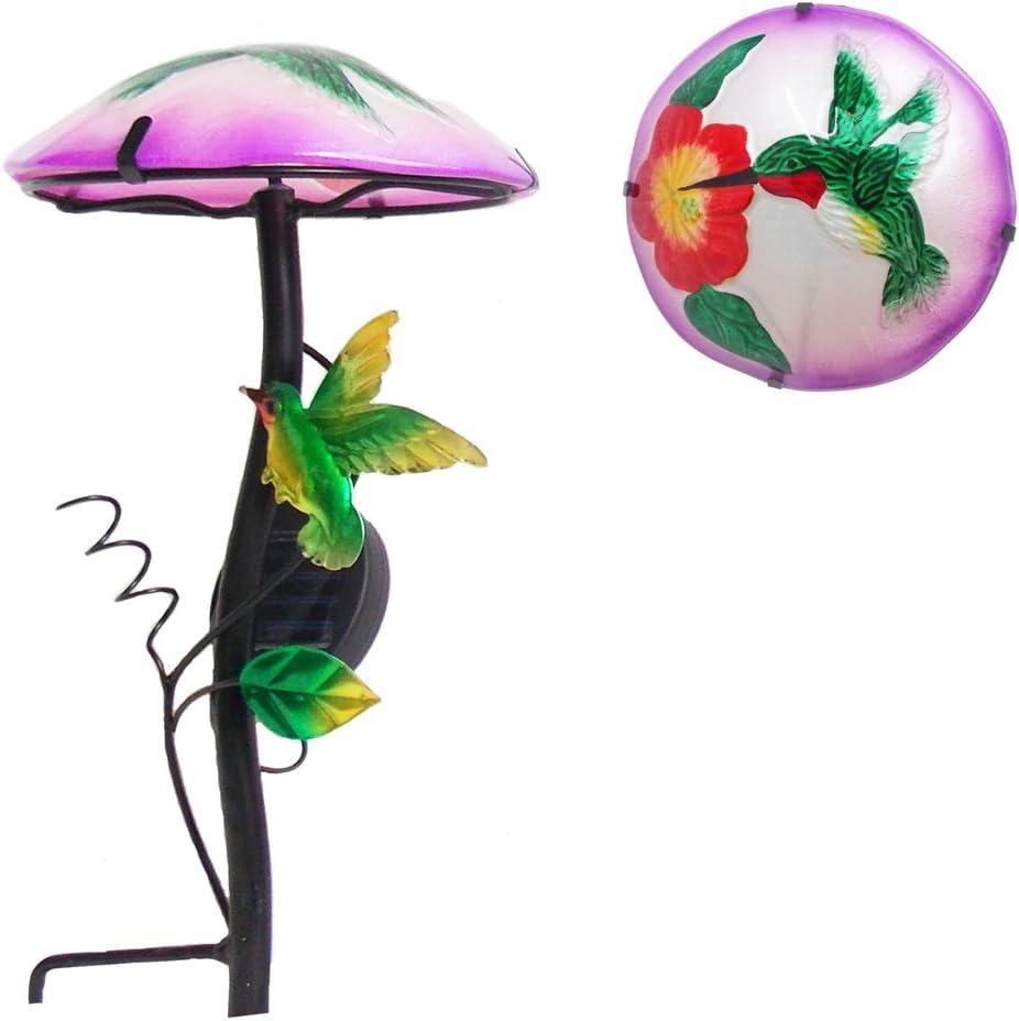 "Comfy Hour 14"" Height Mushroom Shape Hummingbird Flower Glass Top Solar Light Garden Stake"