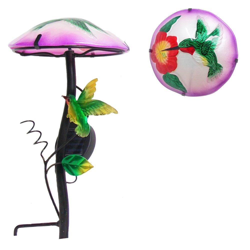 Comfy Hour 14'' Height Mushroom Shape Hummingbird Flower Glass Top Solar Light Garden Stake