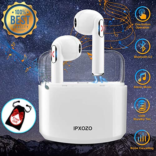 Wireless Earbuds,Bluetooth Earbuds Stereo Wireless Headphones Mini Wireless Earbuds with Microphone in Ear Earphones Sports Earpieces Compatible iPhone X 8 Plus 7 6 iOS Samsung Android Phones (White)