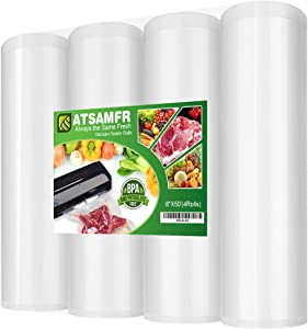 ATSAMFR (Total 200Feet) 8x50 Rolls 4 Pack Vacuum Sealer Food Saver Bags Rolls with BPA Free,Heavy Duty,Great for Vac storage or Sous Vide Cooking