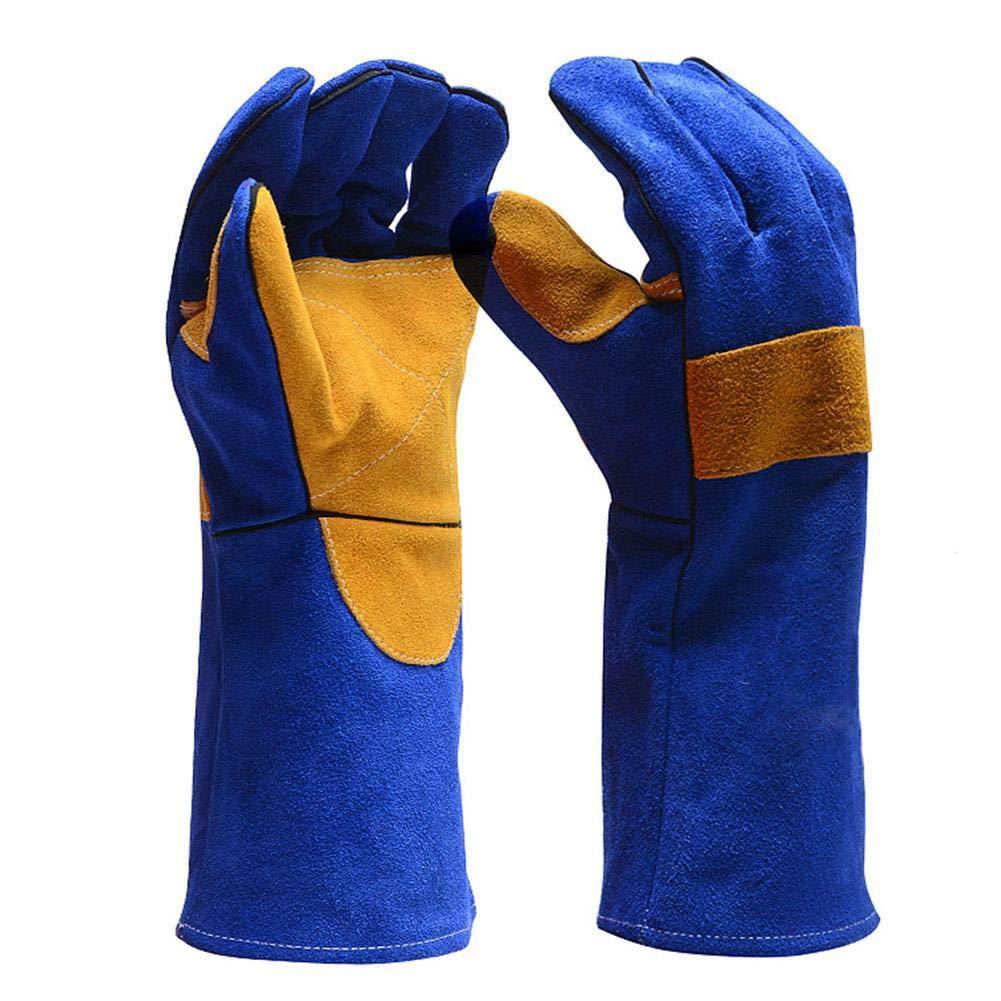 Biback Schweiß handschuhe, aus Leder, hitzebestä ndig/feuerbestä ndig, mit 40,6 cm extra Langen Ä rmeln zum Lö ten von Grill, Gartenarbeit
