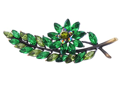 61272abcbca2e Alilang Antique Inspired Emerald Peridot Green Crystal Christmas Holly Leaf  Flower Tree Brooch Pin