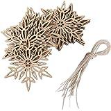 ROSENICE 10pcs Wooden Snowflake Pendant Christmas Decoration Embellishments with String