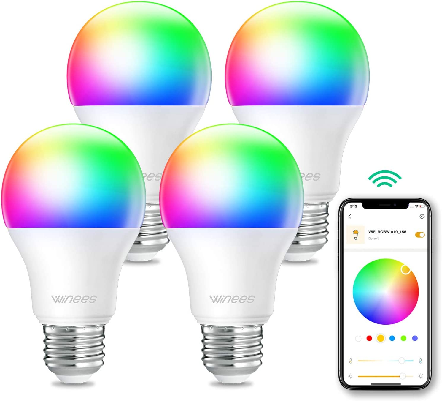 Smart Light Bulbs, WINEES LED Color Changing Light Bulb, 60W Equivalent WiFi Smart Bulbs dimmable Compatible with Alexa & Google Assistant for Smart Home Lighting, A19 E26 4-Pack