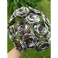 Camo Flower Single Stem Camouflage Wedding Rustic Country Centerpiece Fabric Keepsake Eco Friendly