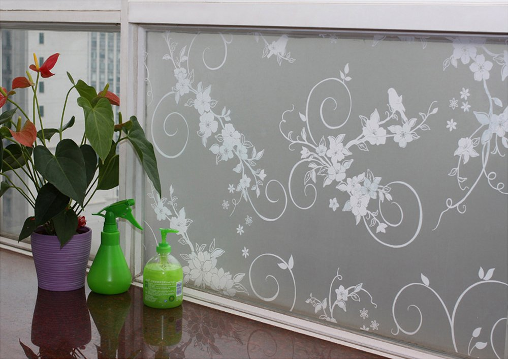 Amazon.com: Hosho Floral Glass Decorative Frosted Privacy Window Film 3 FT  X 2 FT: Home U0026 Kitchen