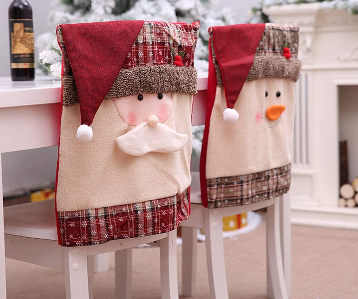 3D Christmas Chair Cover Home Dining Room Decor Party Reindeer Santa Snowman