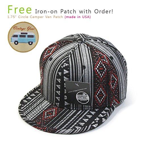 Aztec Cotton Jacquard Trimmed Flat Brim Snapback Baseball Cap(Aztec Red)