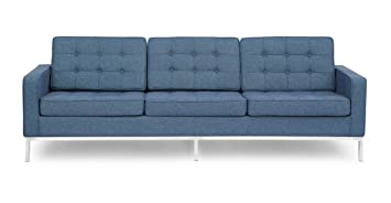 Fine Kardiel Florence Knoll Style Sofa 3 Seat Azure Houndstooth Twill Download Free Architecture Designs Scobabritishbridgeorg
