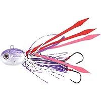 Dioche SeñUelos de Pesca, Ojos 3D Calamares Cabeza de Plomo SeñUelos de Pesca Cebo con Falda de Silicona Cañas de Pescar de Agua Salada