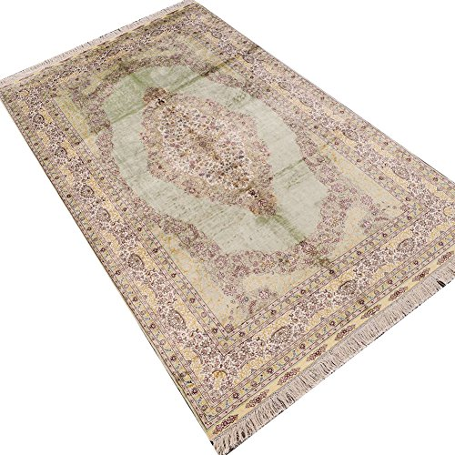 Camel Carpet Beige and Green Hand Knotted Oriental Silk Area Rug ()