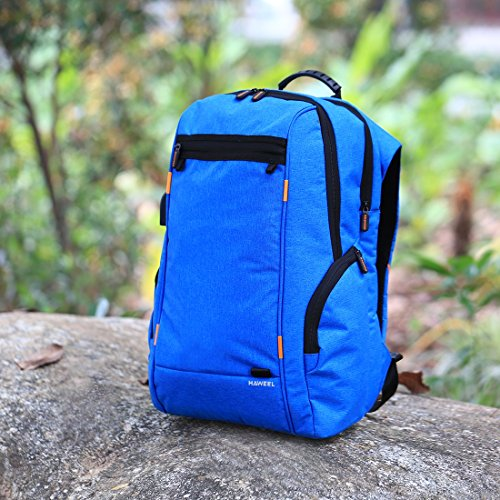 HAWEEL Outdoor Multi-function Solar Panel Power Breathable Casual Backpack Laptop Bag School Bookbag for College Travel Backpack, With USB Charging Port & Earphone Port (Blue) by HAWEEL (Image #8)