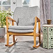 Balen Mid Century Modern Fabric Rocking Chair (Light Grey Tweed)