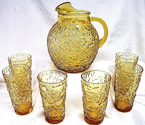 (Anchor Hocking Milano Gold Pitcher and 6 Tumblers)