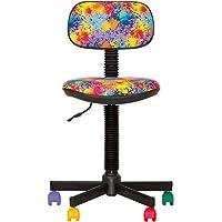 BAMBO- Chaise DE Bureau Enfant Ergonomique, Hauteur du SIÈGE 42 cm-56 cm. Hauteur Dossier RÉGLABLE/PIVOTANT A 360°/ roulettes Multicolores/Noir. Prix Discount.