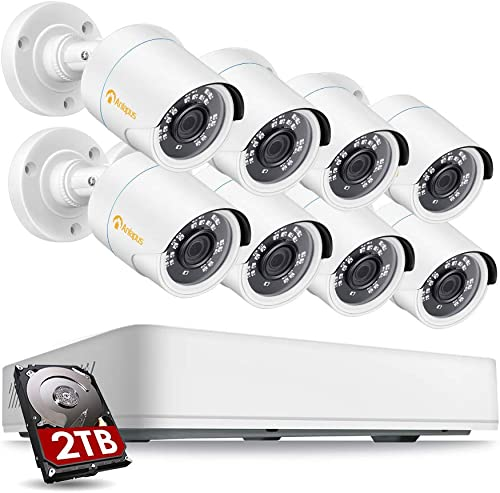 Anlapus Home Security Camera System H.265 8CH HD 1080P DVR Recorder and 8pcs 2MP Indoor Outdoor Weatherproof CCTV Cameras,Motion Detection, Remote Access, 2TB Hard Drive Included