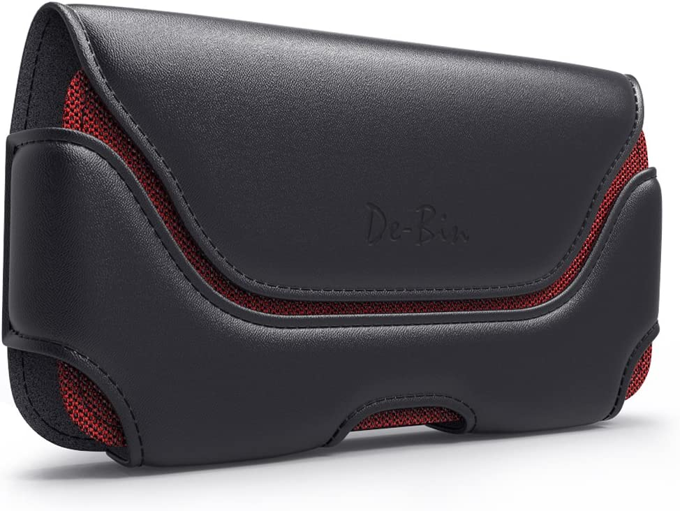 DeBin iPhone 12 Pro Max Holster, iPhone 11 Pro Max/ Xs Max / 8 Plus / 7 Plus Cell Phone Belt Holder Case with Belt Clip and Loops Carrying Pouch for Large Apple iPhones(Fits Phone w/Otterbox Case on)