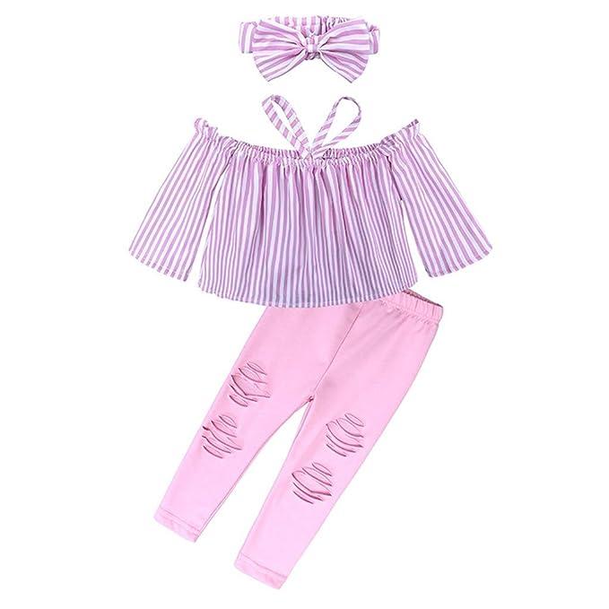 Elsta 2pc M/ädchen Solid T-Shirt Sommer Kinder Baby Oberteile T-Shirt Shirts Top Tops Pearl Denim Pants Jeans Set