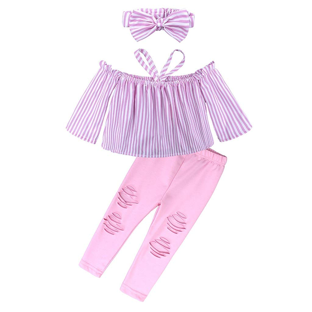 NUWFOR Children Kids Girls Off Shoulder Stripe Tops+Ripped Pants+Headbands Set Outfit(Pink,1-2 Years)