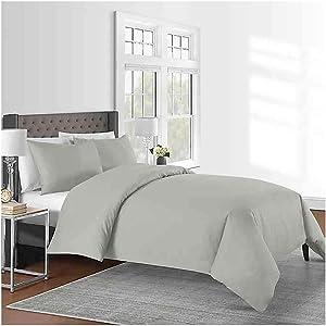 Sunham Home Fashions 625-Thread-Count Full/Queen Duvet Cover Set in Silver