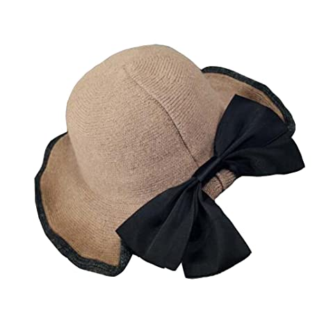 fc3dfaf120f Image Unavailable. Image not available for. Color  DRAGON SONIC Beautiful  Khaki Knitting Floppy Hat Wide Brim Hat Big Bowknot