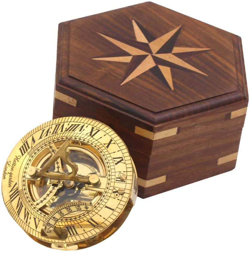 Roorkee Instruments Antique Nautical Vintage Directional Magnetic Sundial Clock Pocket Compass Quote Engraved Baptism Gifts with Wooden Case for Loved Ones, Father, Love 3
