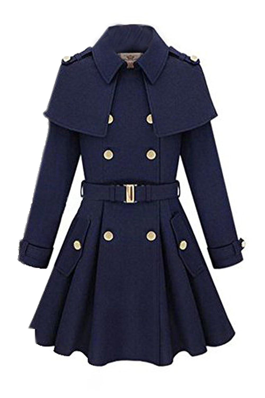 TOOGOO(R)Frauen Sitz Trenchcoat Doppelreihiger Mantel Wollmischung Jacke Parka Oberbekleidung dunkelblau M