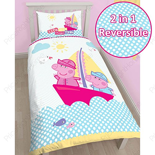 (Peppa Pig Nautical Single/US Twin Duvet Cover and Pillowcase Set)