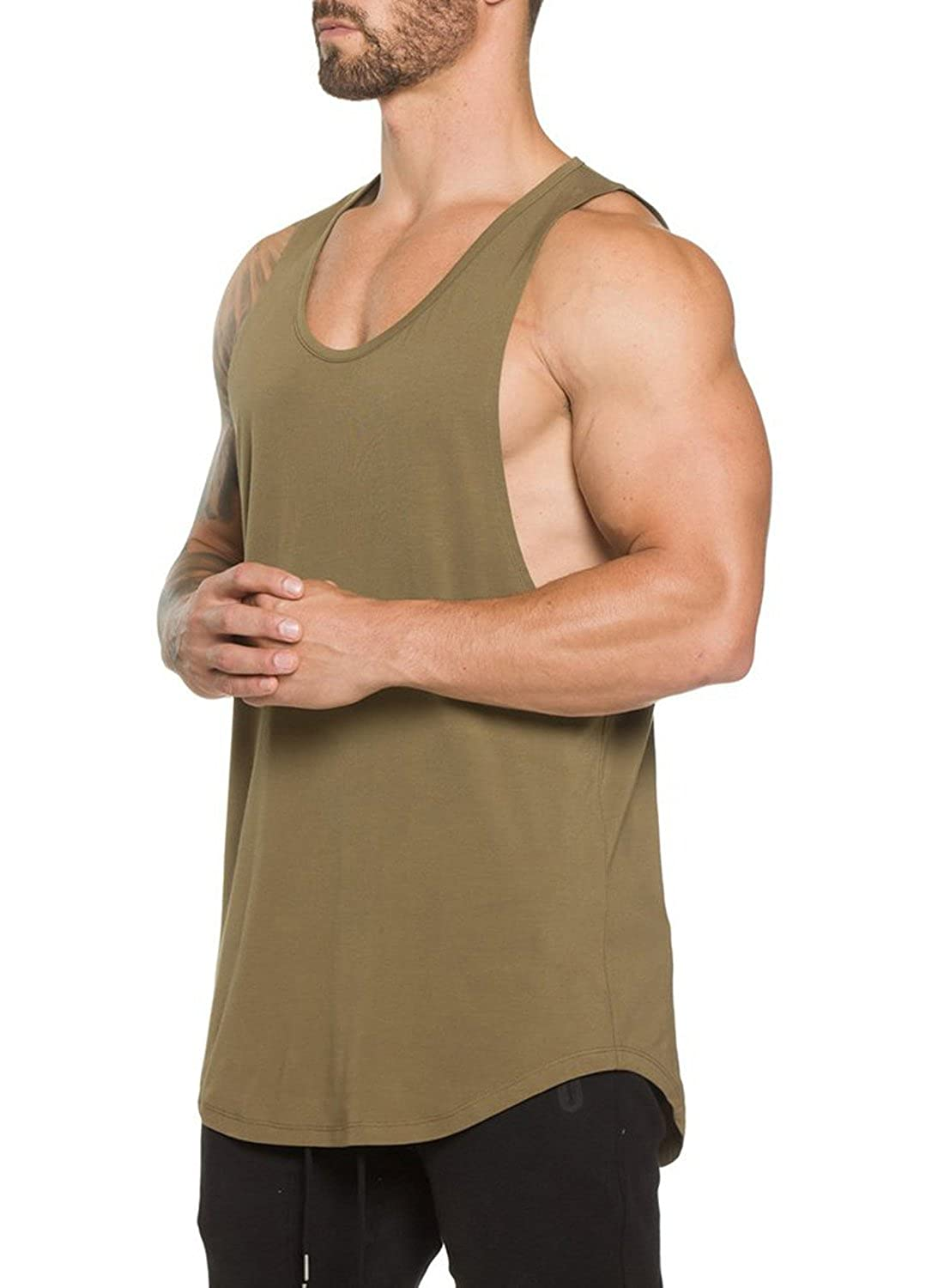 8bd9553f359721 Amazon.com  Ouber Men s Gym Bodybuilding Workout Stringer Tank Top  Clothing