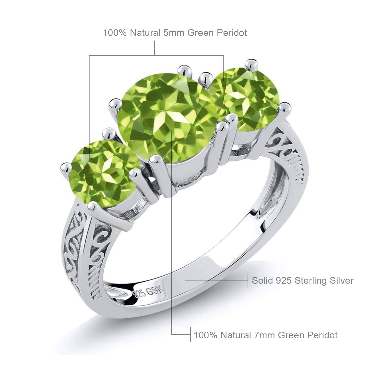bd627b8260d1f Gem Stone King Sterling Silver Round Green VS Peridot 3-Stone Women's Ring  (2.35 Carat Gemstone Birthstone Available 5,6,7,8,9)