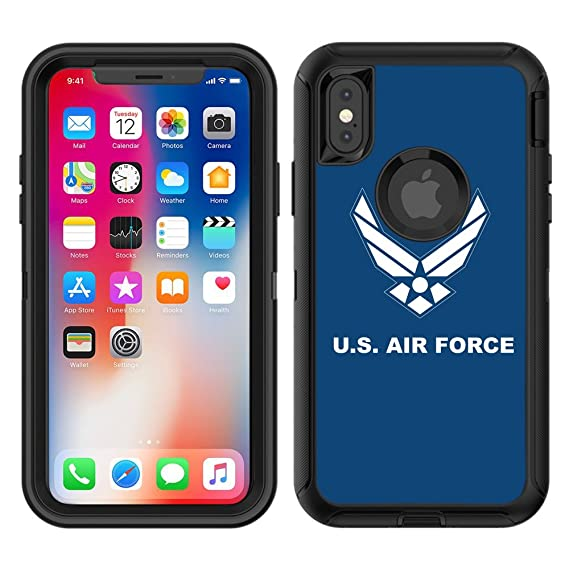 newest 0c526 251d3 Protective Designer Vinyl Skin Decals / Stickers for OtterBox Defender  iPhone Xs / iPhone X Case - USAirforce Blue Background Design Patterns -  Only ...