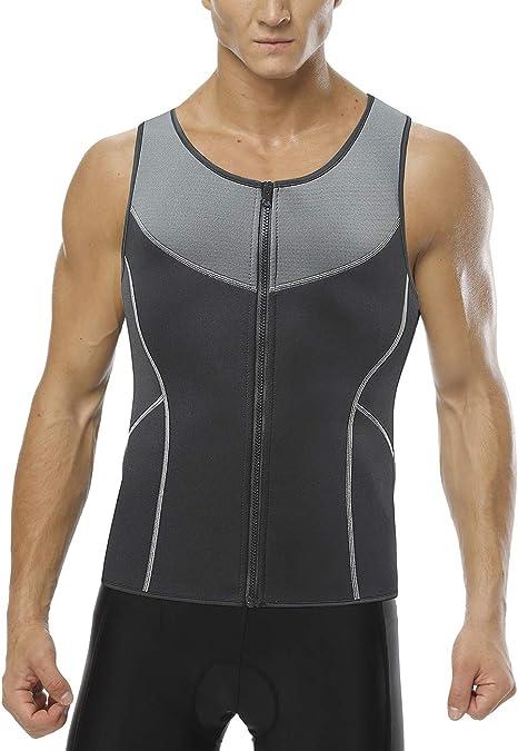 Men/'s Weight Loss Workout Neoprene Body Shapers Sweat Sauna Shirt Vest Tank Tops