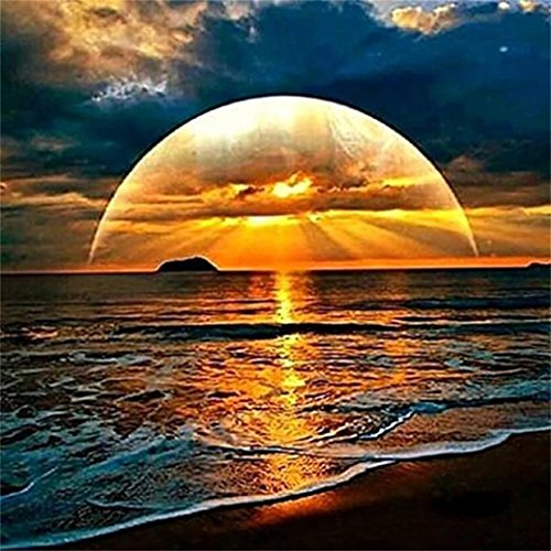 Sunset by the Sea Landscape 5D Embroidery Paintings Rhinestone Pasted DIY Diamond Painting Cross Stitch Living Room Decoration (Multicolor)