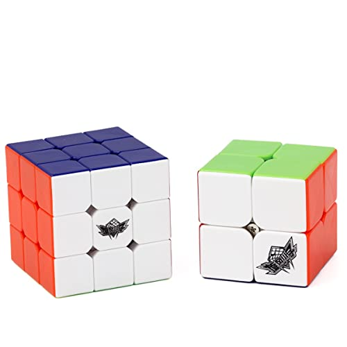 Vdealen Bundle Speed Cube 2x2 3x3 Stickerless Smooth Magic Cube Puzzles Toy (Pack of 2)