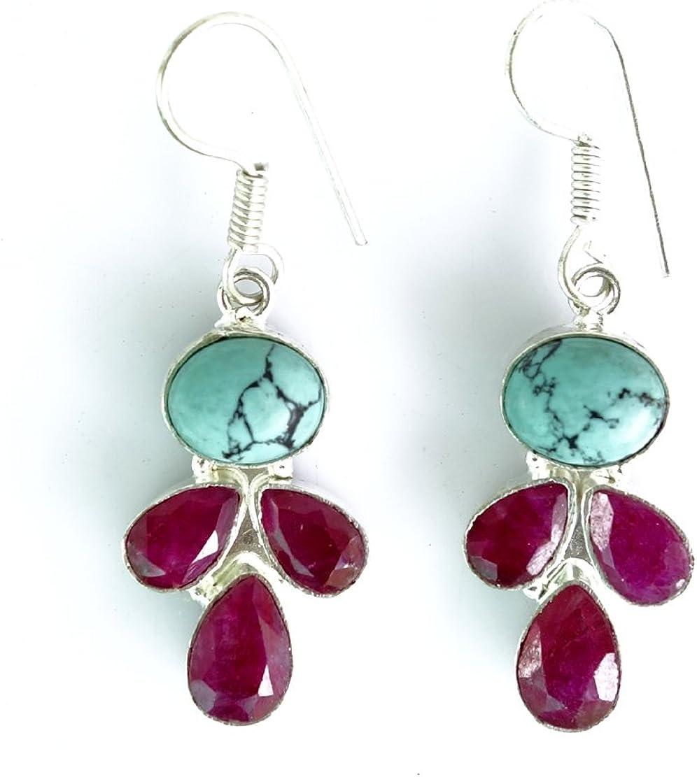 925 plata Sterling SHELL del OLMO & Ruby piedras preciosas hechas MODA cuelga los pendientes para las mujeres TIBETANA
