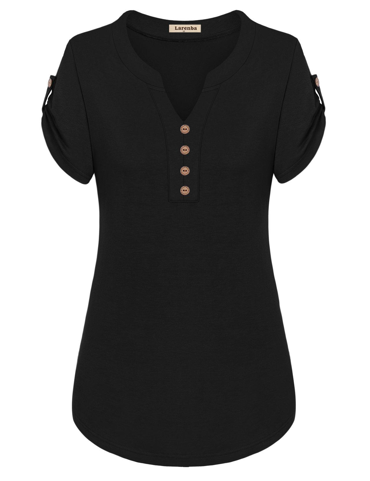 Larenba Short Sleeve Henley Shirts Women, Juniors V Neck Wear to Work Henley Shirts Casual Blouses(Black,Small)