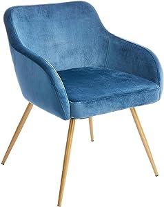 CangLong Accent Dinning Sofa Armchair Elegant Velvet Mid-Back Support Modern Upholstered Living Room Leisure Chairs for Bedroom, Blue 1