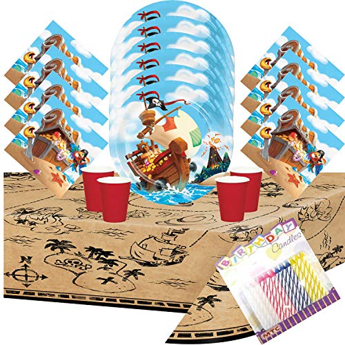 Pirate Treasure Dinner Plates Luncheon Napkins Cups and Table Cover Serves 16 with Birthday Candles - Pirate Party Supplies Pack Deluxe (Bundle for 16)