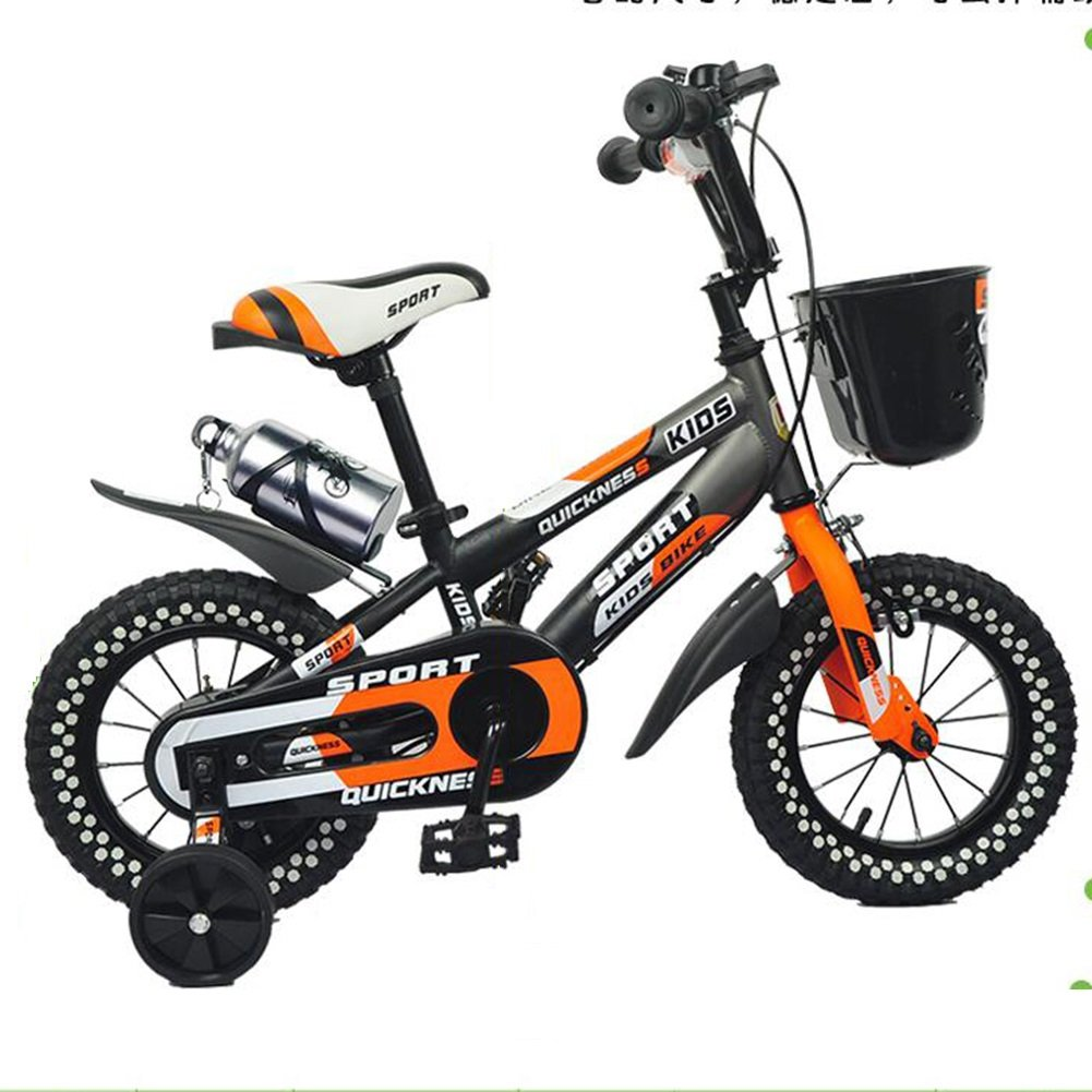 XQ 子供たち 自転車 3-6歳 マウンテンバイク 男の子と女の子 赤ちゃん 自転車 12インチ 子供たち 自転車 オレンジ 子ども用自転車 B07CJDZ2YN