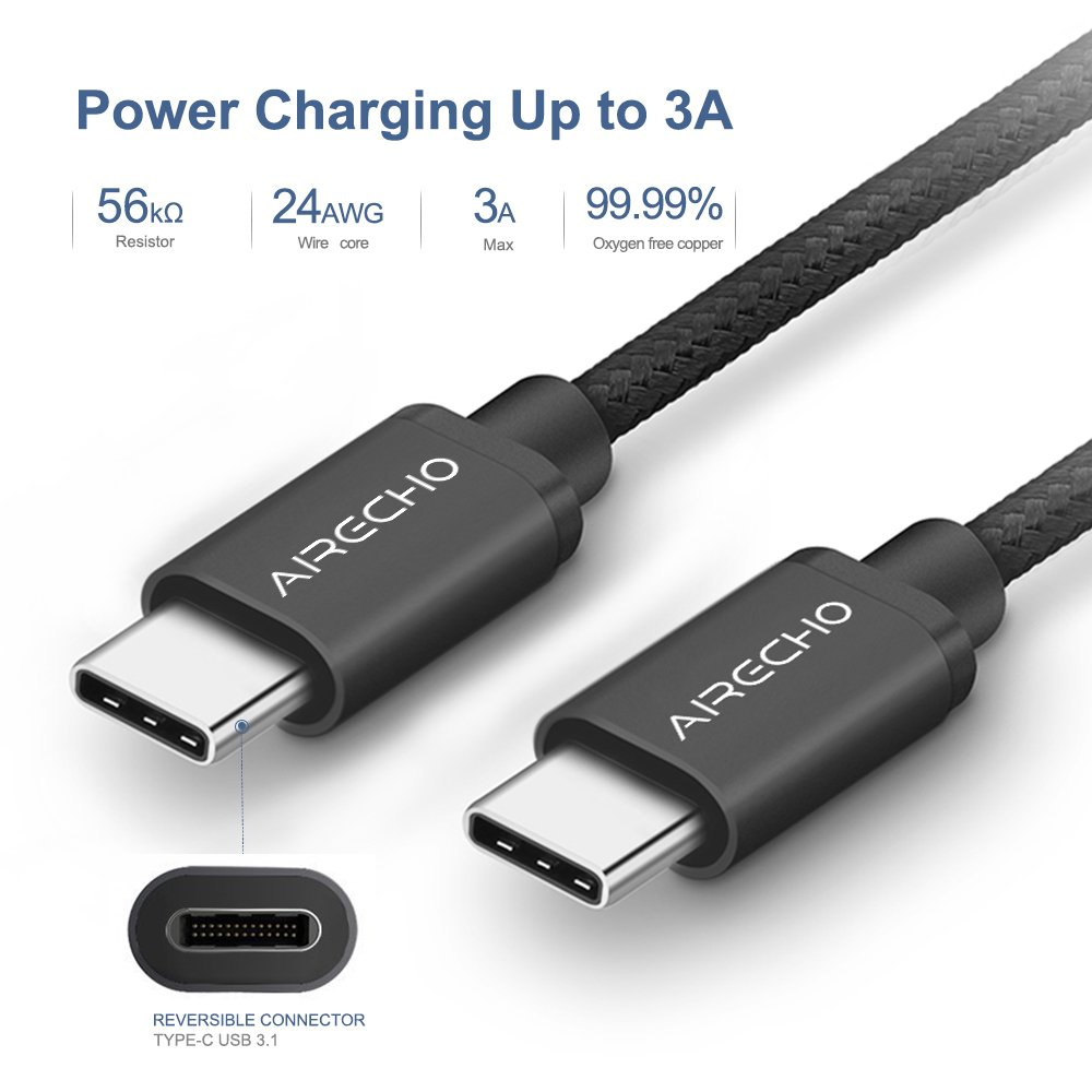 Airecho USB Type C-C Cable Braided USB 3.1 Type C (USB-C) to Type C Data Charging Cable(3A), for New Macbook 12 inches, Chromebook Pixel, Nexus 5/ 6p, ...
