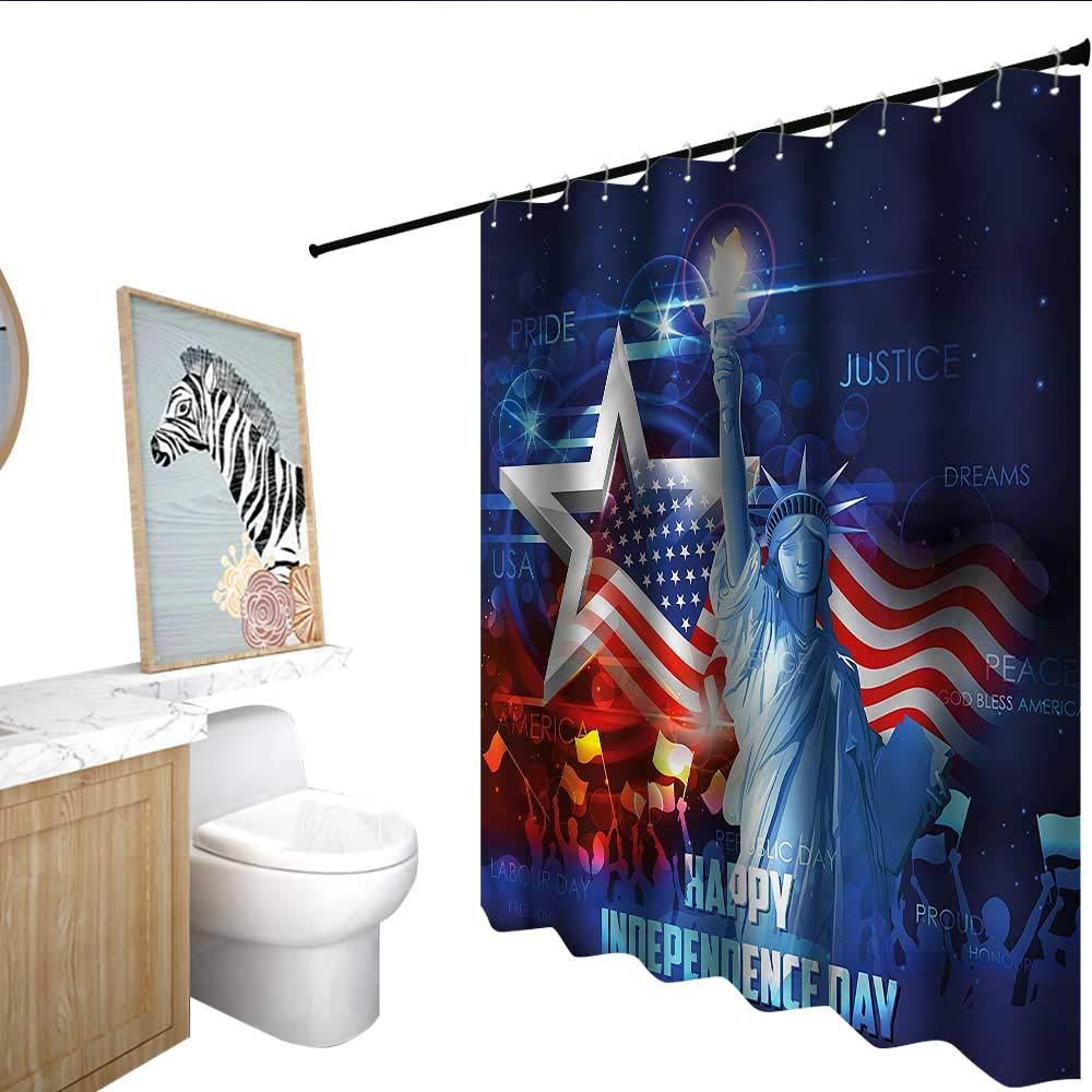 BlountDecor 独立記念日シャワーカーテン 防水 55x72インチ バスルームに最適 63