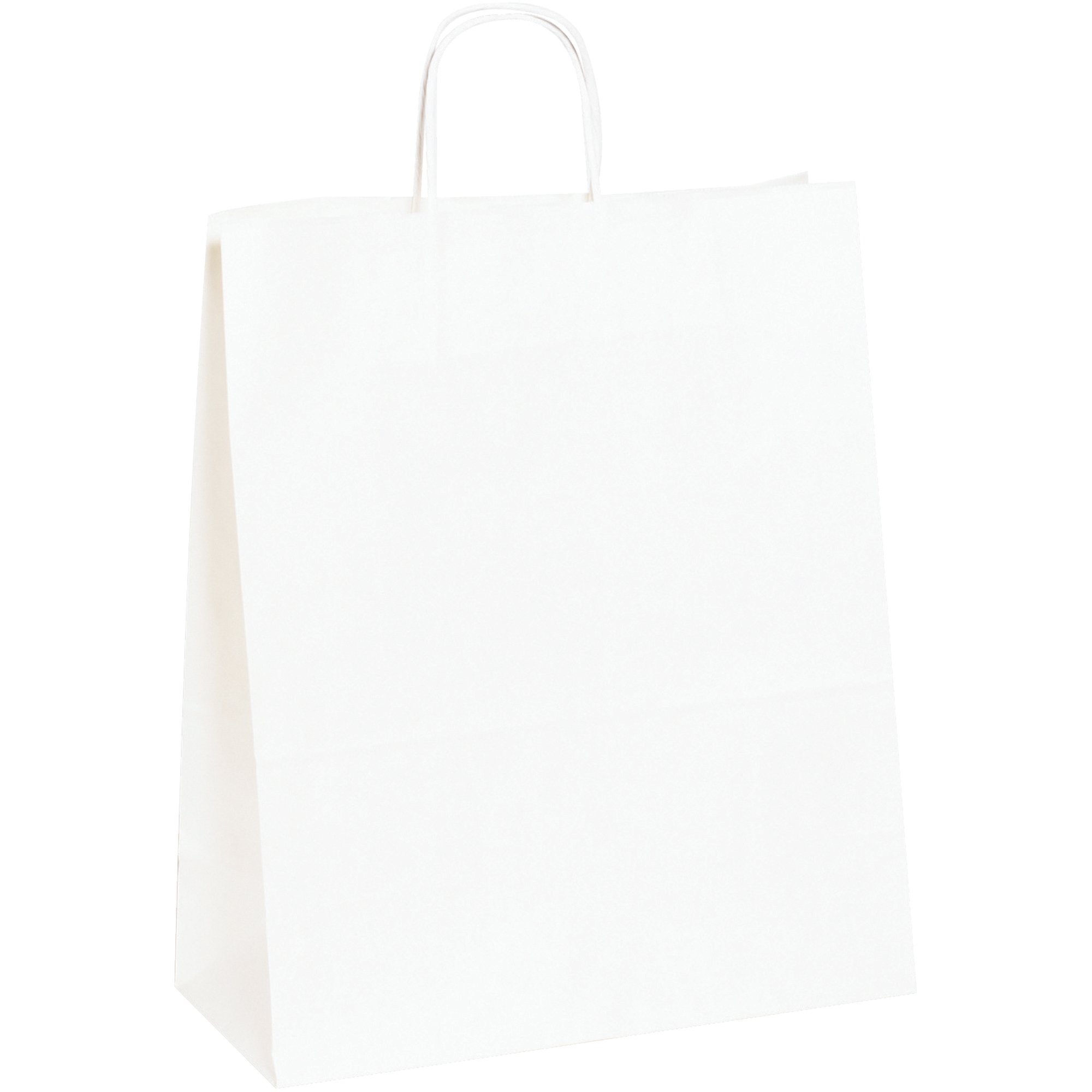 Paper Shopping Bags, 13'' x 6'' x 15 3/4'', White, 250/Case