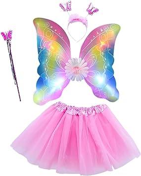 EZSTAX LED Ala de Mariposa 4pcs Disfraz Luminoso de Mariposa para ...