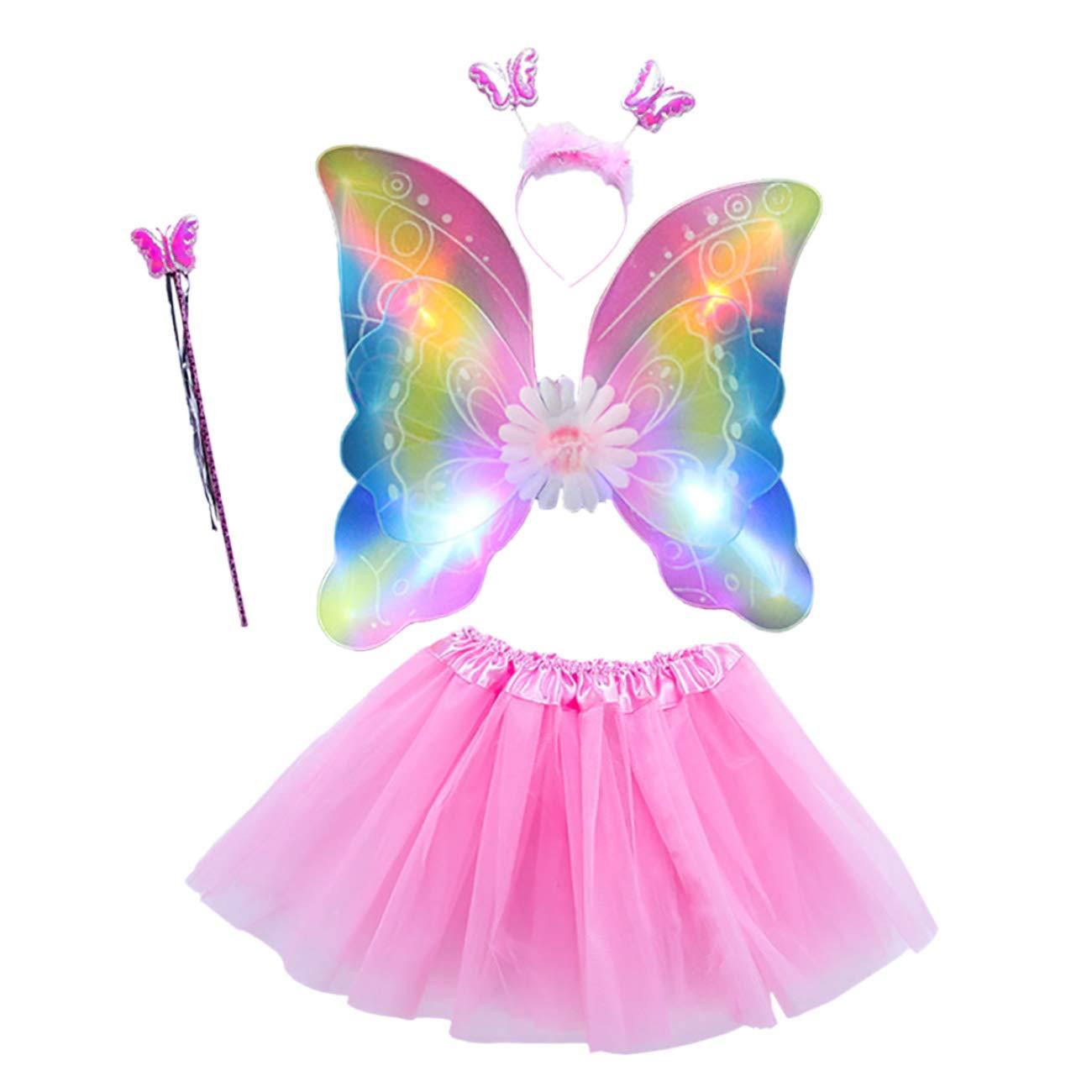 7eb8145193 THEE LED Ailes de Papillon 4pcs Costume de Papillon Lumineux pour Filles  Déguisement: Amazon.fr: Jeux et Jouets
