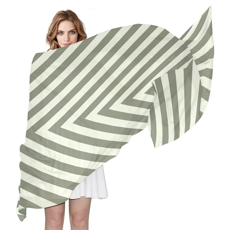 BYouLockX Women's Silk Scarf Shawl With Green Stripe Refraction Pattern